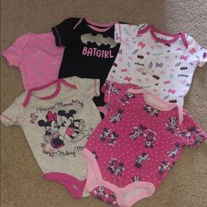 Lot of 5 short sleeve baby girl onesies